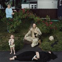 Elizabeth Condon in yard with older woman, baby, and fallen person.