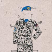 Paper doll illustration of fatigues with beret