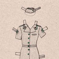 Illustration of a military outfit with skirt, hat, and flats for a paper doll.