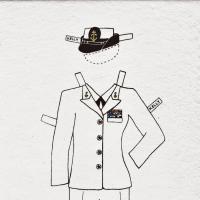 Paper doll illustration of military suit with naval hat.