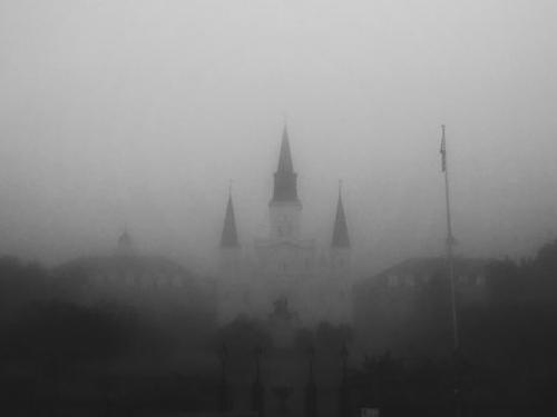 foggy image of New Orleans