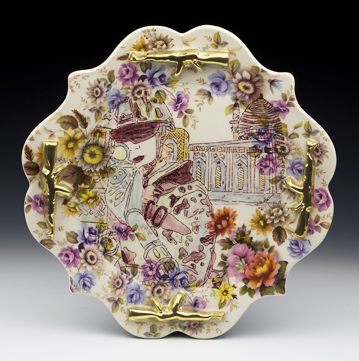 Ornate ceramic plate with drawn face of military woman pointing gun at viewer.
