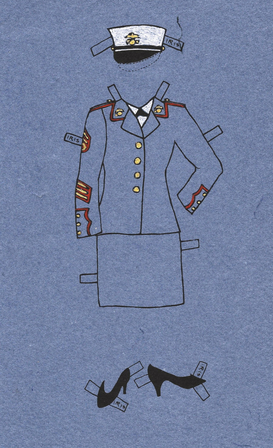 Paper doll illustration of woman's military outfit